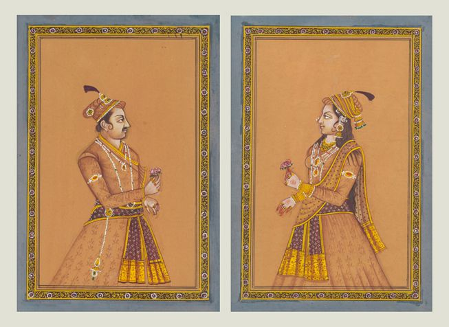 Mughal king and queen - Mughal royal couple in mud color tone. A work of pure Mewar school of miniature art from vintage collection by the artist. Dimensions - 4X6 inches (each) Painting on vintage handmade paper. Contact KalaCafe to buy