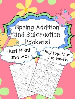 Spring Addition and Subtraction Worksheet Packets- Just Pr