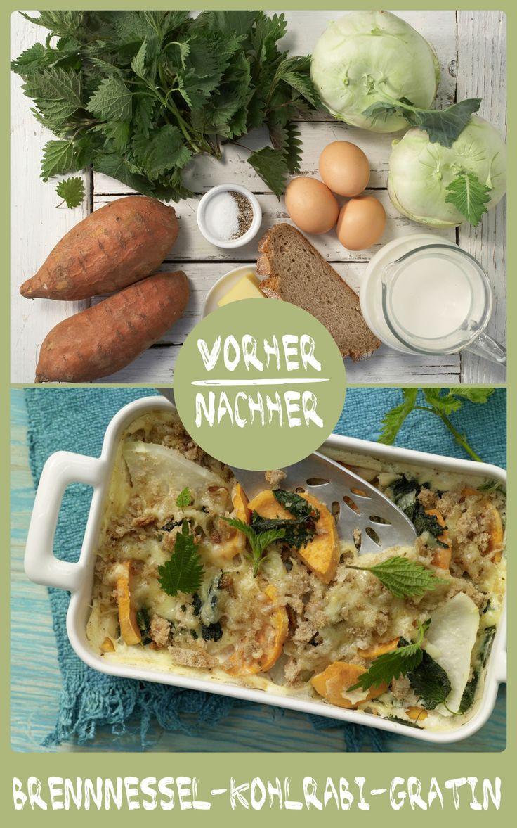 http://eatsmarter.de/rezepte/brennnessel-kohlrabi-gratin So ein Auflauf ist etwas leckeres. Und Kohlrabi ist leicht bekömmlich.