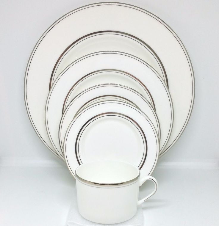 NEW Kate Spade Library Lane Platinum 5 Pc Place Setting Lenox China Dinnerware #Lenox