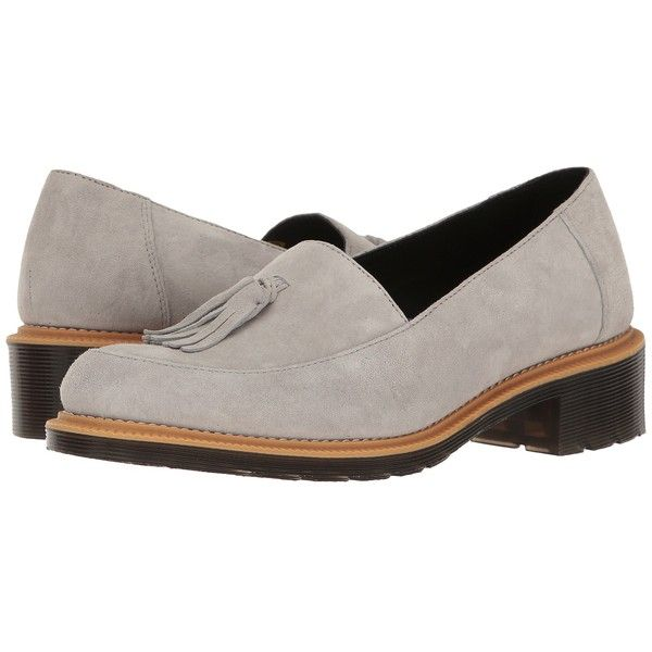 Dr. Martens Favilla II (Mid Grey Soft Buck) Women's Boots ($85) ❤ liked on Polyvore featuring shoes, boots, slip-on shoes, slip on boots, gray boots, tassel boots and grey slip on shoes