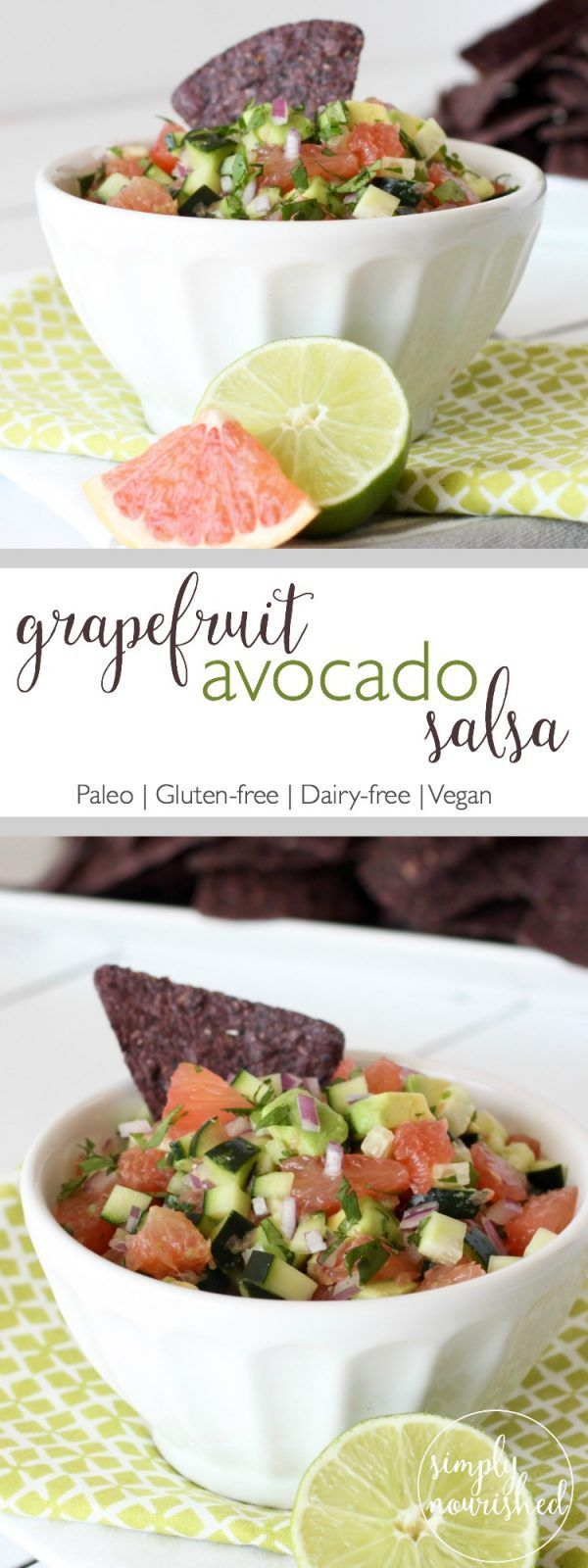 Fruits and fire collide in this uniquely refreshing Grapefruit Avocado Salsa - perfect for chip dipping or just eating by the spoonful | http://simplynourishedrecipes.com/grapefruit-avocado-salsa/