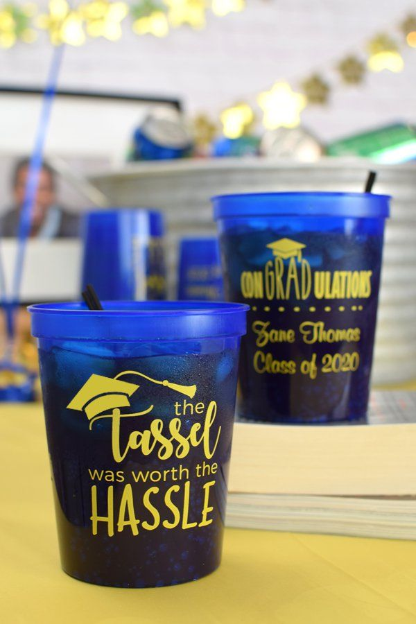 The ultimate graduaton party favors. Custom printed and reusable plastic cups as graduation party souvenirs are the pefect way to celebrate the recent grad. Your guests will love taking their cups home as favors to use after your party and your cups can double as cute decorations.  Serve soda pop, iced drinks, and any other chilled beverage in these reusable, drink cups. Made in the USA.