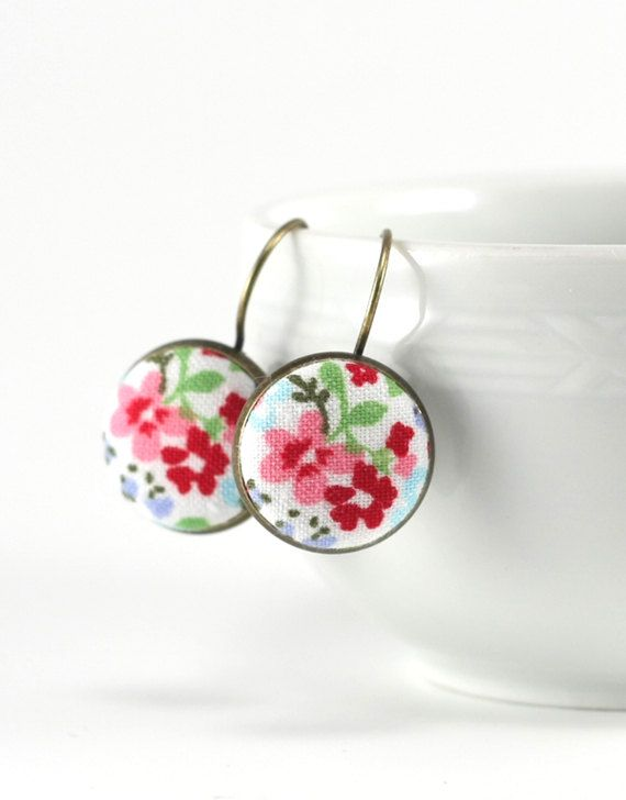 Antique Leverback Earrings  Wild Flowers  by PatchworkMillJewelry
