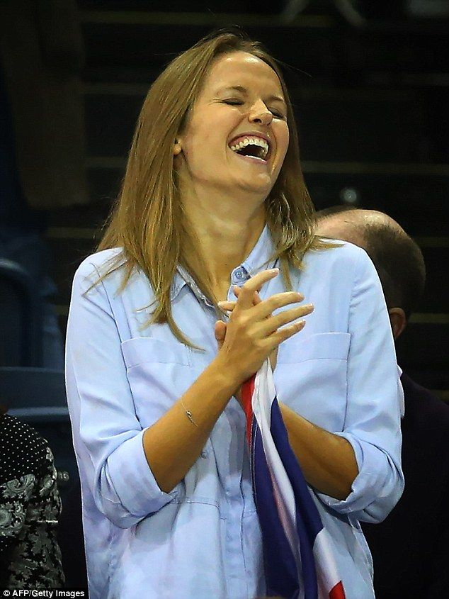 Pregnant Kim Murray looked overjoyed as husband Andy helped Britain reach the Davis Cup fi...