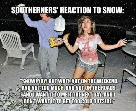 The south's reaction to snow