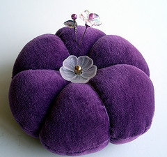 Deep violet velvet pincushion, beautifully made from an old velvet jacket.