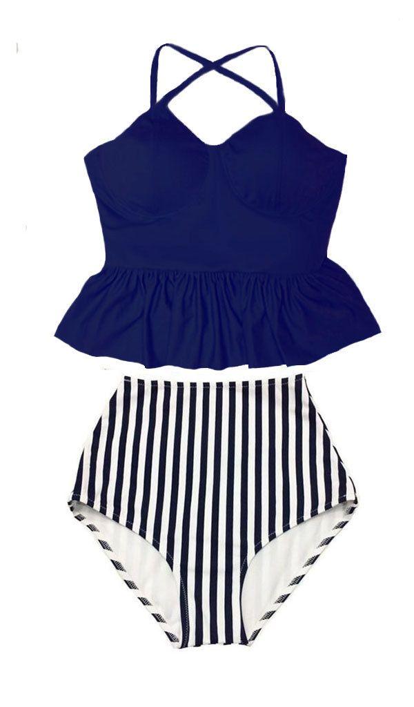 Peplum Swimsuit Bikini Bathing suit : Navy Blue Tankini Peplum Top and Stripe High waist waisted Bottom Swim Beach wear set outfit S M L XL by venderstore on Etsy
