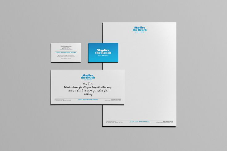 Skydive the Beach and Beyond / Letterhead, With Compliments Slip + Business Card Graphic Design / Rebrand on Behance