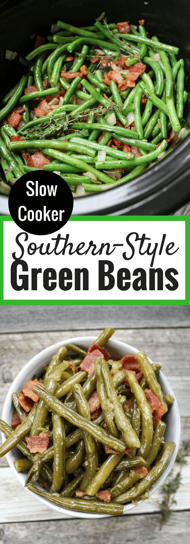 Crockpot Southern-Style Green Beans #thanksiving side dish #crockpot