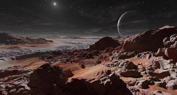 Pluton Enfin la planète naine Pluton, neuvième plus gros objet orbitant autour du Soleil (exception faite des lunes des géantes gazeuses). Son diamètre est d'environ les deux tiers de la Lune. Depuis sa surface, le Soleil apparaît comme une simple étoile très brillante, ce qui est normal, quand on en est séparé par 5,9 milliards de kilomètres, soit 40 fois la distance Terre-Soleil.