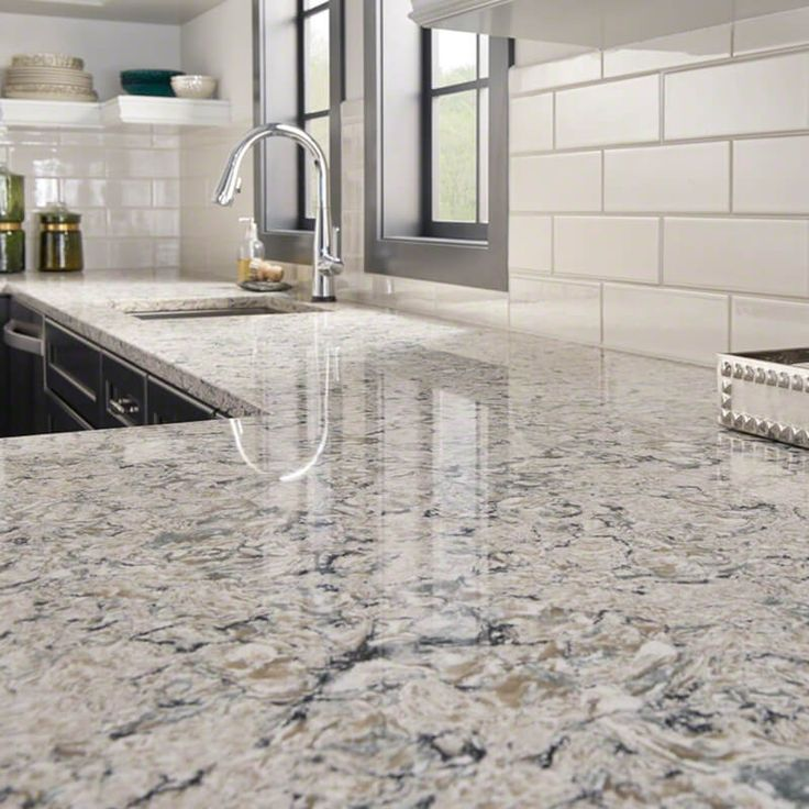 High Style Looks With Artful Movement Bring A Style Statement To The  Kitchen. Update Your Space With A New White Quartz Countertop In Pacific  Salt.