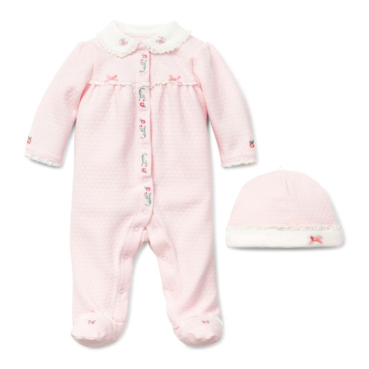 """Layette Baby Girl Footie with Matching Hat - """"Chateau Rose Footie"""""""