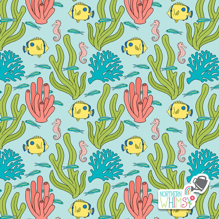 A closer look at one of the coral, seahorse, and tropical fish patterns from Northern Whimsy's Coral Reef collection.
