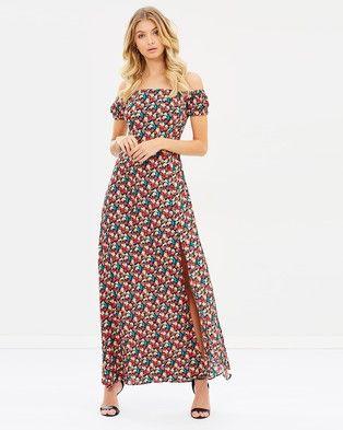 Atmos & Here – Azariah Off Shoulder Maxi Dress – Printed Dresses Black Base Daisy