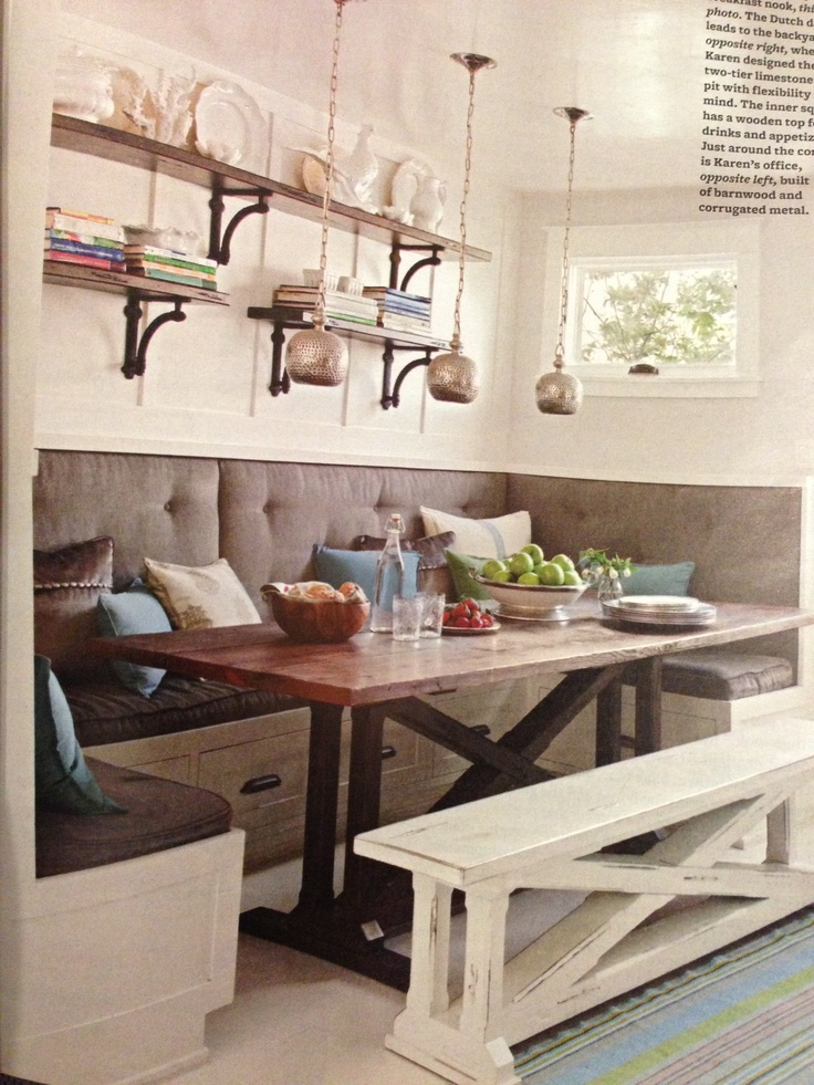 Gray upholstered banquette with a trestle table love from better homes and gardens magazine Better homes and gardens march