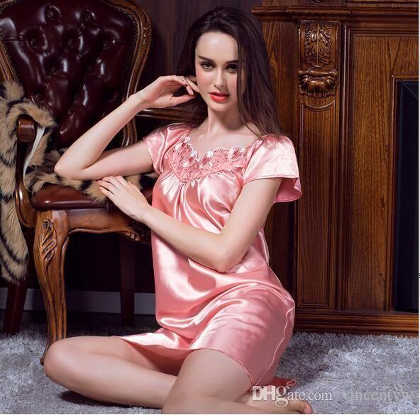 2017 Ladies Sexy Silk Satin Night Dress Sleeveless Nighties V-neck Nightgown Plus Size Nightdress Lace Sleepwear Nightwear For Women   godildaddy