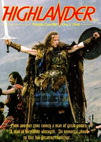 """Highlander ~ An immortal Scottish swordsman must confront the last of his immortal opponent, a murderously brutal barbarian who lusts for the fabled """"Prize"""".   Stars Christopher Lambert, Sean Connery, and Clancy Brown."""
