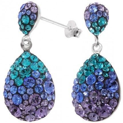 cercei colorati cu cristale la preturi bune pe site-ul: http://www.bijuteriifrumoase.ro/cumpara/angelina-chaton-pear-8-18-gl-3-2cm-sapphire-blzircone-emerald-1043