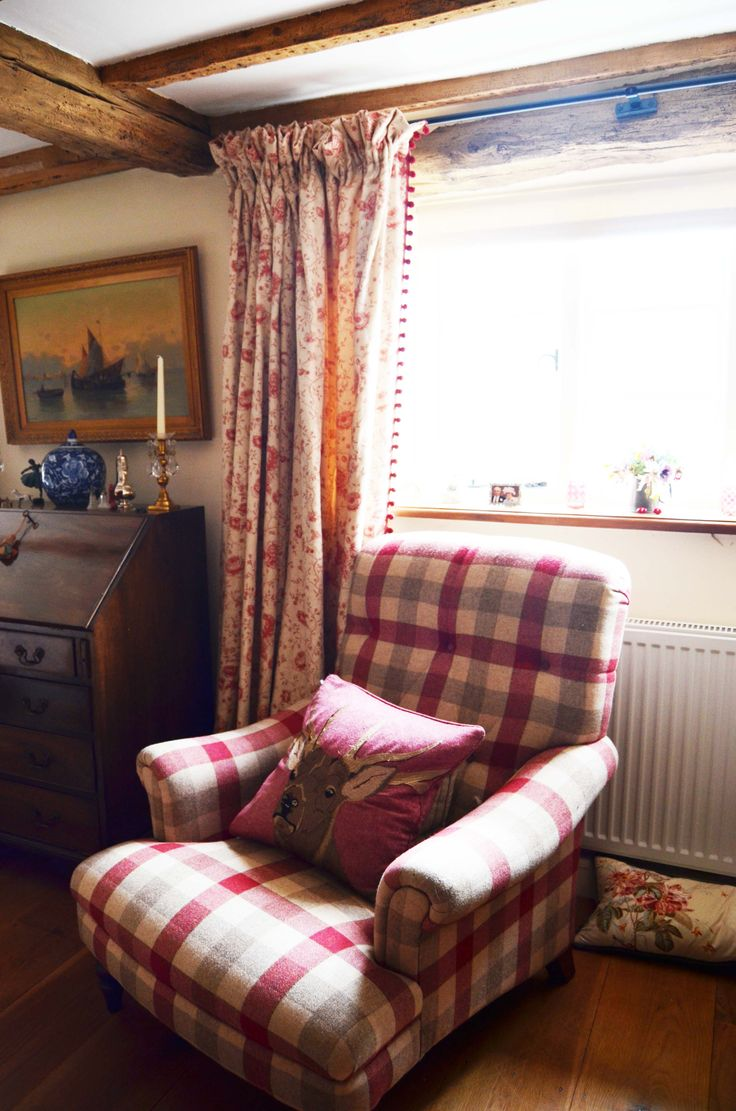 Red check chair plaid curtains with pompoms www.suescammellinteriors.co.uk