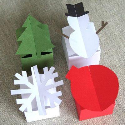 Scatoline natalizie fai da te di carta