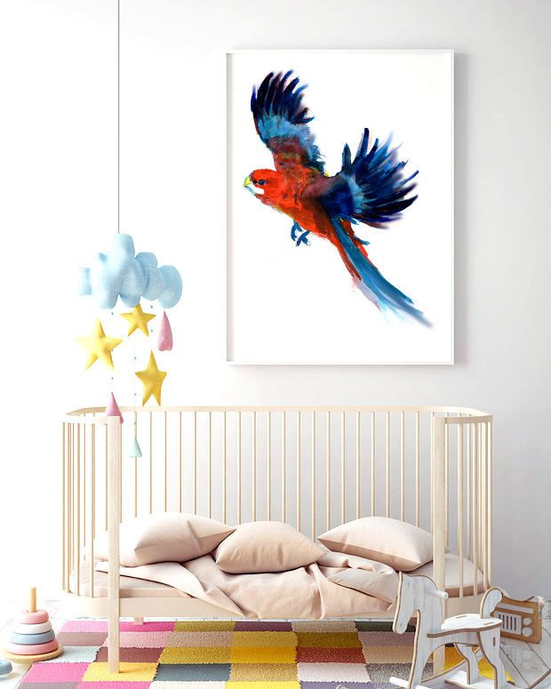 """Poster """"Parrot"""" * Beautiful Poster * Gift idea * Childroom * Modern Poster * Merry Gallery * Animal * Birds by MerryGallery on Etsy"""