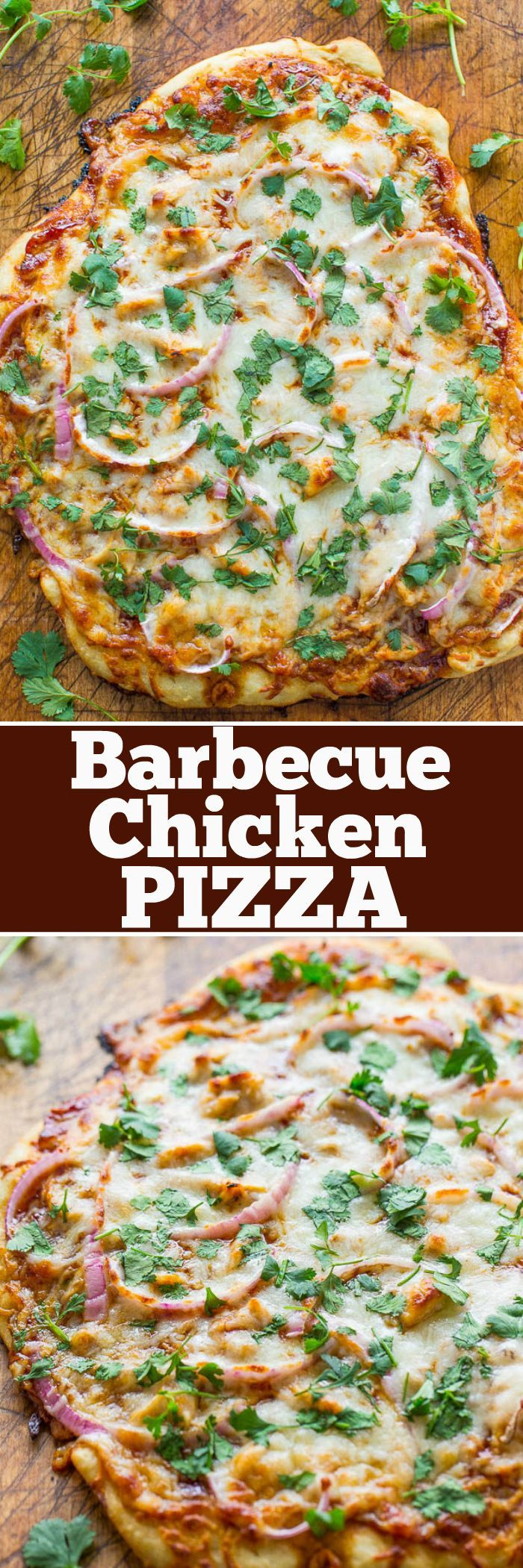 Barbecue Chicken Pizza - A COPYCAT version of California Pizza Kitchen's bbq chicken pizza that you can make at home in 15 minutes!! EASY, loaded with juicy chicken, red onions, cilantro, and lots of cheese!!