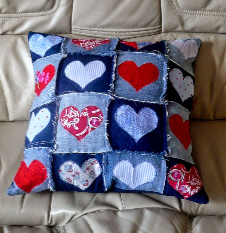 hearts and denim pillow