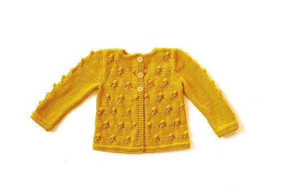 Mädchen-Pullover Gelb Senf Knitted Cardigan von SweetMeadowSweet