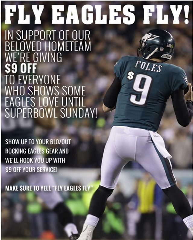 Make sure to come wearing your Eagles and support our team to receive $9.00 off of your BLO/OUT And if you have not yet already be sure to schedule your game day BLO/OUT. G O E A G L E S