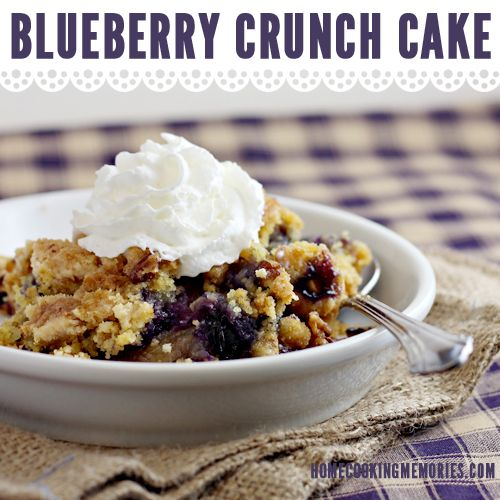 Blueberry Crunch Dump Cake - this easy dessert uses fresh blueberries and is adapted from a recipe by Justin Timberlake's grandmother