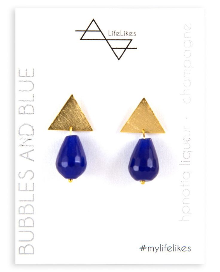 """It's part of the """"Cocktail Earrings"""" collection, which includes earrings that combine metal with gemstones in combinations inspired by summer cocktail drinks.  #coctailearrings #earrings #bubbleearing #design #greekdesign #jewellery #bluestyle"""