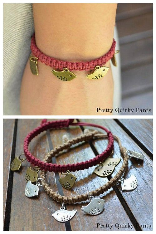 DIY Easy Macrame Bracelet with Charms Tutorial from Pretty Quirky Pants via True Blue Me & You