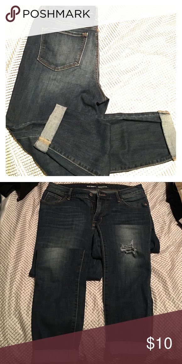 High Rise Rockstar Jeans Dark Wash **WORE TWICE** High Rise, Cropped Rockstar Jeans with visible tear at the knee (purchased that way). Great condition! Will fit pretty tight through the hips to the ankles. Old Navy Jeans Ankle & Cropped