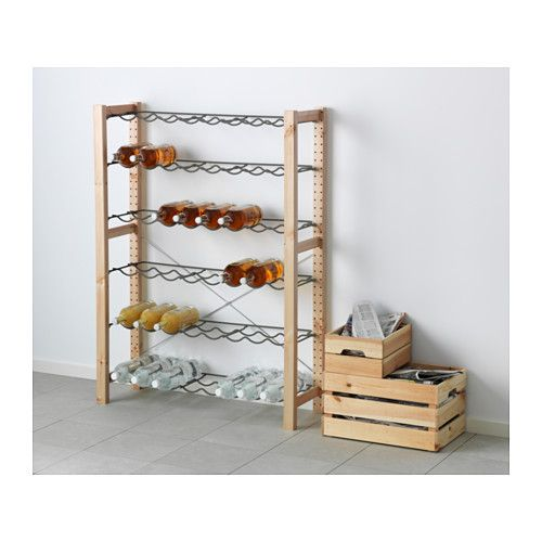 $69 basement storage IKEA - IVAR, 1 section unit with bottle racks, Untreated solid pine is a durable natural material that can be painted, oiled or stained according to preference.