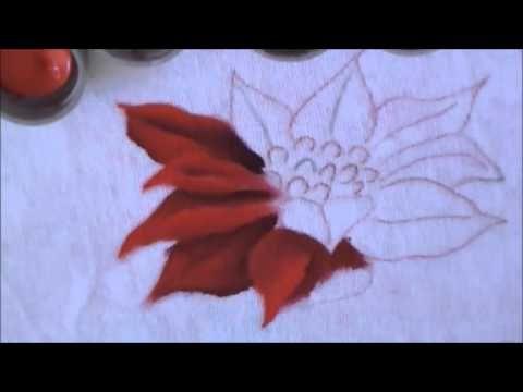 Como pintar a flor de natal, bico de papagaio - pintura em tecido - YouTube
