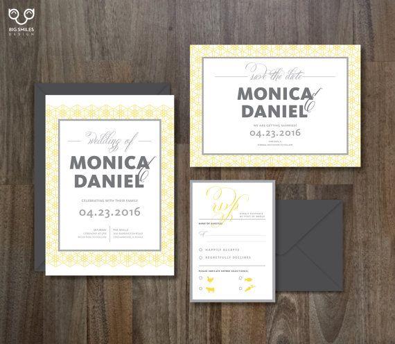 Digital Printable DIY Wedding Invitation Template Set, RSVP, Save The Date,  Arabesque,
