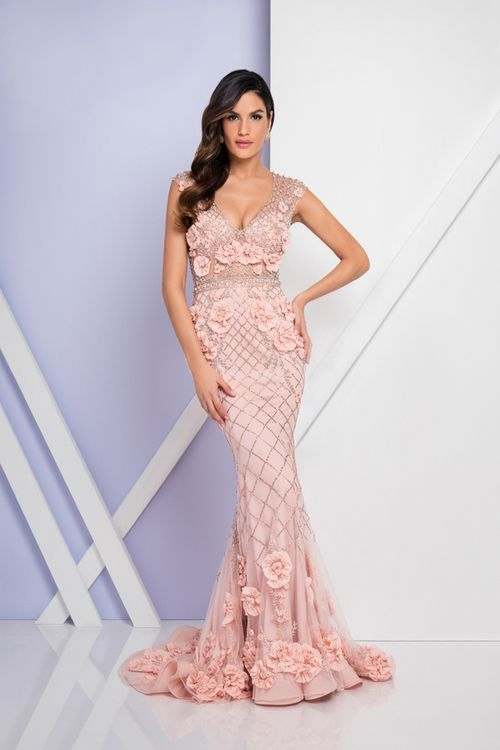 Terani Couture 1722gl4488 Beaded Floral Applique Evening Dress In