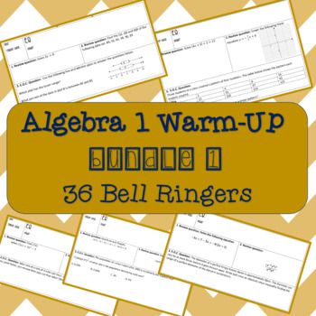 36 Algebra 1 warm-ups that each have 3 review questions from previous Algebra lessons and 1 E.O.C. question for students to work on as bell ringers. **No homework assignments included in this bundle** Other Products: Unit 1 Bundle: Real Number