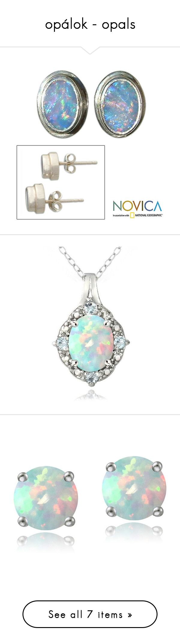 opálok - opals by szabo-csilla on Polyvore featuring jewelry, earrings, opal, stud, sterling silver jewelry, hand crafted earrings, opal jewelry, novica jewelry, opal earrings and necklaces