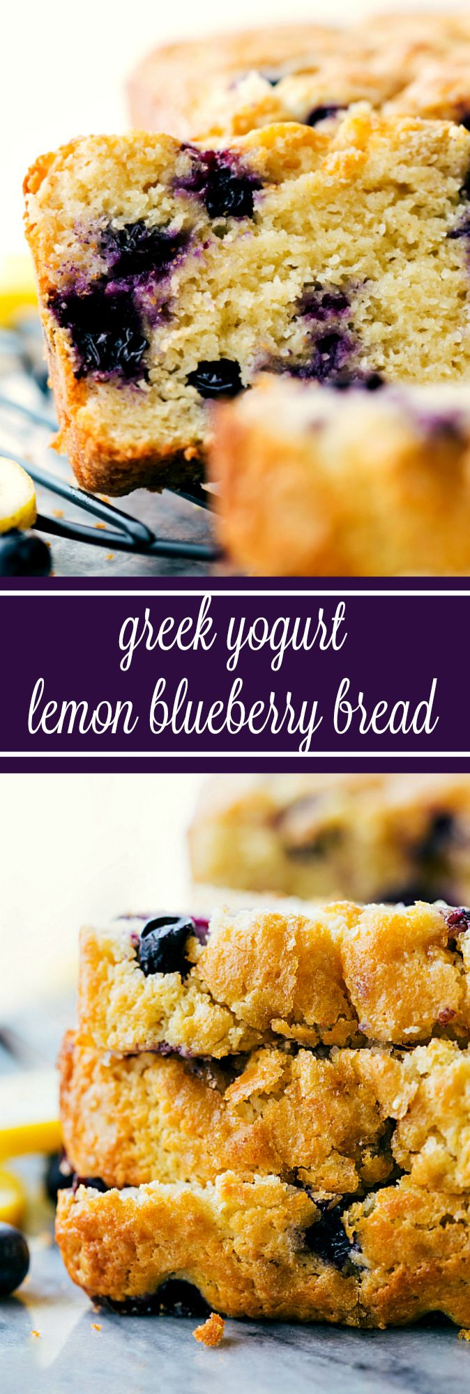Healthier Greek Yogurt Lemon Blueberry Bread (Video)