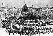 Labor Day - observed on the first Monday in September to celebrate the eonomi and social contributions on workes.  Attached piture is Labor Day Parade, Union Square, New York, 1882