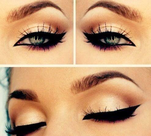 Beautiful winged #eyeliner, ojos muy marcados con eyeliner para tener una mirada de gatita, ;)