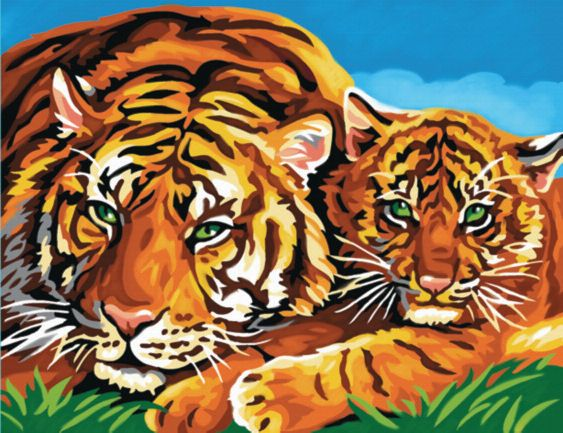 Painting By Numbers - Tigers. PBN1039 | Hobbies The Masterpiece Senior range of painting by numbers are for the more experienced artist. Contents: Pre-printed board, acrylic paints, brush and instruction sheet.  Size: 407mm x 305mm