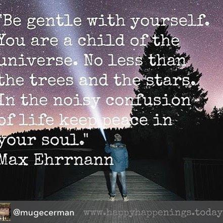 Repost from @mugecerman using @RepostRegramApp - Kendine karşı nazik ol . Sen evrenin çocuklarından birisin. En az ağaçlar ve yıldızlar kadar değerlisin. Hayatın gürültülü kargaşası içinde ruhundaki sükuneti koru. Max Ehrrnann #quoteoftheday #happyhappenings #star #stars #universe #gentle #child #trees #peace #soul #life #happy #joy #quote #quotes #mantra #maxehrrnann http://ift.tt/2949wO3