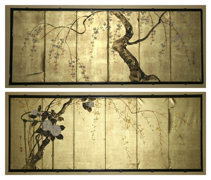 A Pair of Japanese Six Panel Wall Screens, Sakai Hoitsu (1761-1828), decorated with scenes of flowering trees upon a gilt reserve, painted on paper with signatures in the left and right margins. Height 19 3/8 x width of each panel 8 3/4 inches.