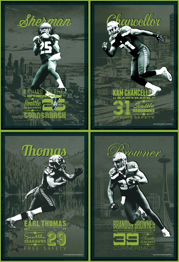Legion of Boom Set / Seattle Seahawks, Richard Sherman, Kam Chancellor, Earl Thomas, and Brandon Browner