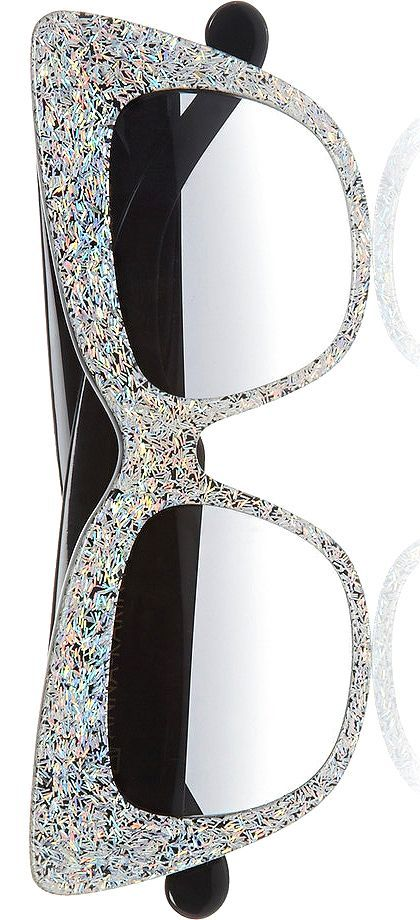 Anna-Karin Karlsson iridescent silver glittered-acetate sunnies    The House of Beccaria