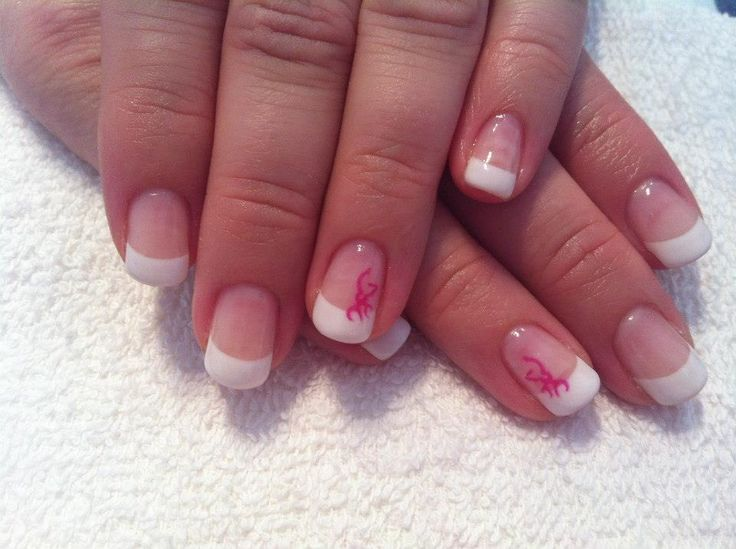 French nails with pink Browning decal #sittingpretty