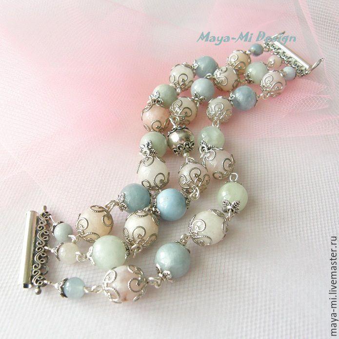 Купить TENDERNESS-2, браслет с бериллами - бледно-розовый, бледно-голубой, мятный, нежно-салатовый